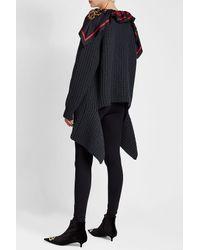 Balenciaga - Blue Virgin Wool Pullover With Silk Scarf - Lyst