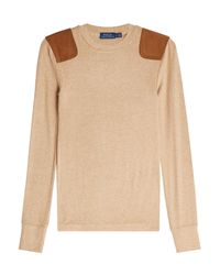 Polo Ralph Lauren - Multicolor Jersey Top With Suede Shoulder Patches - Lyst
