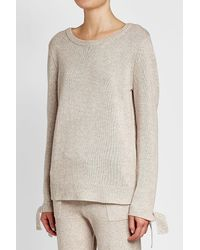 81hours - Natural Wool And Cashmere Pullover With Ribbon Cuffs - Lyst