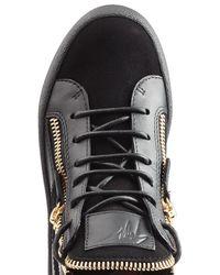 Giuseppe Zanotti - Black Leather And Velvet High Top Sneakers - Lyst
