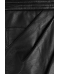Balmain - Black Draped Leather Skirt - Lyst