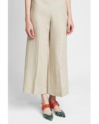 Theory - Natural Cropped Pants Terena aus Leinen - Lyst