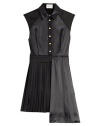 Fausto Puglisi - Black Asymmetric Dress With Pleated Skirt - Lyst