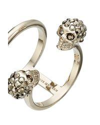 Alexander McQueen - Metallic Embellished Skull Ring - Lyst