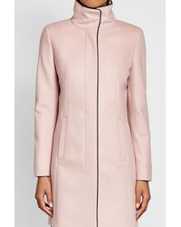 HUGO - Pink Virgin Wool Coat With Cashmere - Lyst