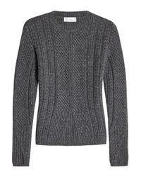 Max Mara - Gray Cable Knit Pullover With Virgin Wool And Camel Hair - Lyst
