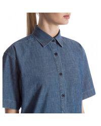 Sunspel - Blue Women's Japanese Chambray Short Sleeve Shirtdress In Indigo Chambray - Lyst