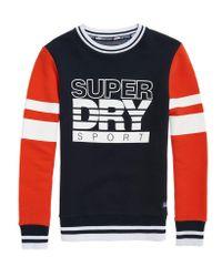 Superdry Blue Sd Sport Colour Block Crew Jumper