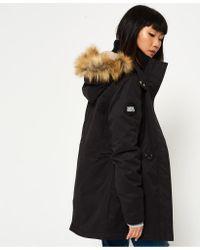 Superdry - Black New Model Microfibre Parka Jacket - Lyst