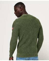 Superdry - Green Garment Dye Wash Texture Crew Jumper for Men - Lyst