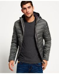 Superdry | Gray Fuji Double Zip Hooded Tweed Jacket for Men | Lyst