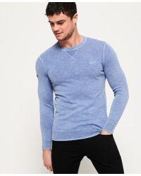 Superdry Blue Garment Dye L.a. Crew Jumper for men