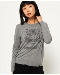 Superdry | Gray Tiger Gemstone Knit Jumper | Lyst
