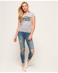 Superdry - Gray Vintage Logo Puff Embroidery E Kniited Tank Top - Lyst