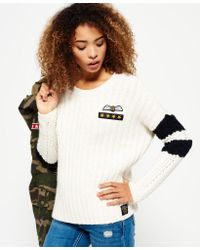 Superdry - Blue Varsity Slouch Knit Jumper - Lyst