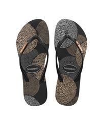 Havaianas | Slim Metallic Bloom Black Sandal | Lyst