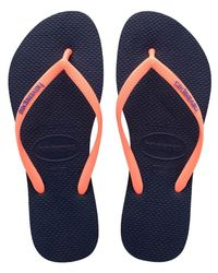 Havaianas - Blue Slim Logo Pop-up Sandal - Lyst