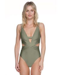 Becca - Green Ballerina Open Back Plunge Neck One Piece Swimsuit - Lyst