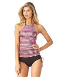 Anne Cole - Multicolor Stevie Stripe High Neck Tankini Swim Top - Lyst