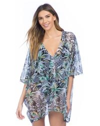 Kenneth Cole - Blue Palm Reading Kimono Sleeve Tunic Swim Cover Up - Lyst