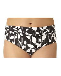 Anne Cole - Black Plus Size Vines Convertible High To Low Shirred Bikini Swim Bottom - Lyst