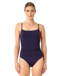 Anne Cole - Blue Live In Color Shirred Lingerie Maillot One Piece Swimsuit - Lyst