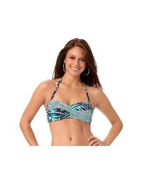Anne Cole - Blue Best Fronds Forever Twist Front Shirred Underwire Bandeau Swim Top - Lyst