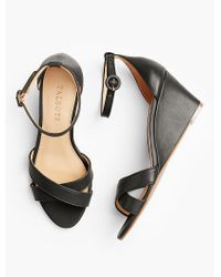 Talbots - Black Vivian Ankle-strap Wedges-vachetta Leather - Lyst