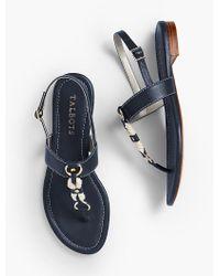 Talbots - Blue Keri T-strap Sandals - Rope & Nappa - Lyst