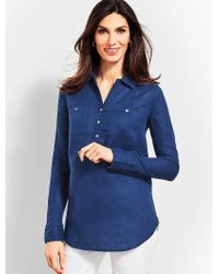 Talbots - Blue Linen Camp Shirt - Piece-dyed - Lyst