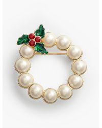 Talbots - Metallic Pearl Wreath Brooch - Lyst