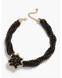 Talbots | Black Flower & Bead Necklace | Lyst