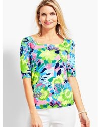 Talbots - Multicolor Tropical Geo-floral Square-neck Elbow-sleeve Sweater Topper - Lyst