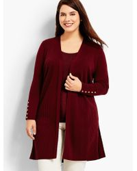 Talbots - Red Plus Size Exclusive Ribbed Duster Cardigan - Lyst