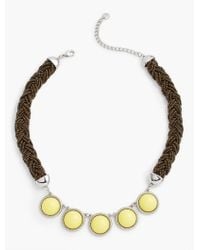 Talbots - Metallic Seed-bead Rope & Cabochon Necklace - Lyst