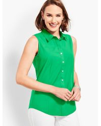 Talbots Green The Classic Sleeveless Button Front Shirt