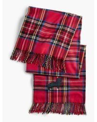 Talbots - Red Fringed Tartan Plaid Pup Blanket for Men - Lyst