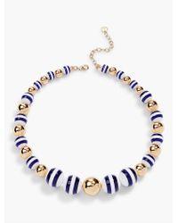 Talbots - Blue Stripe & Gold Bead Necklace - Lyst