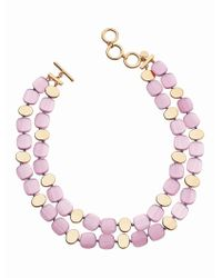 Talbots - Pink Cat-eye Double-strand Necklace - Lyst