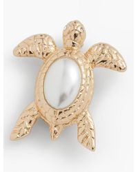 Talbots - White Pearl Cabochon Turtle Pin - Lyst