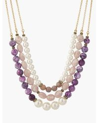 Talbots | Multicolor Bead Triple-strand Necklace | Lyst