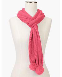 Talbots | Pink Faux-fur Pom-pom Scarf | Lyst