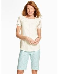 Talbots - White Crocheted-lace Topped Tee - Lyst