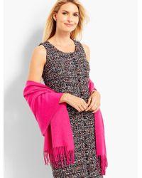 Talbots - Pink Tassel Waterweave Cashmere Wrap - Lyst