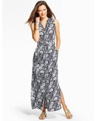 Talbots - Blue Mixed-flowers Long Shirtdress - Lyst