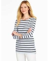 Talbots - Blue Side-button Tee - Mixed Bright Stripes - Lyst