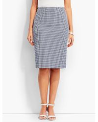 Talbots | Gray Tailored Gingham Pencil Skirt | Lyst
