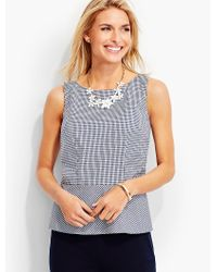 Talbots | Blue Tailored Gingham Peplum Shell | Lyst