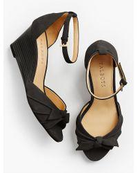 Talbots - Black Vivian Bow Ankle-strap Wedges - Lyst