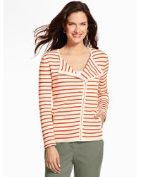Talbots - Orange Ocean-stripe Moto Jacket - Lyst